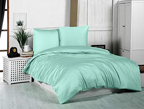 Ropa de cama Mako Maco Satén Algodón Satén Ropa de cama Funda nórdica 200 cm x 220 cm, Color menta