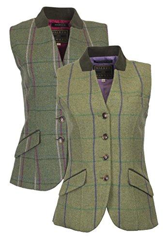 Walker and Hawkes Margate Steppweste aus Tweed für Damen - Verstellbarer Riemen auf der Rückseite - Violett gestreift - Größe EU 44 (UK 16)
