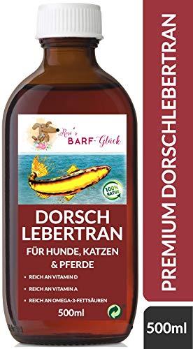 Rosi's Barf-Glück Premium Dorschlebertran für Hunde Katzen & Pferde 500ml – 100% Natürliches Fischöl mit Omega-3-Fettsäuren & Vitaminen – Lebertran Hund perfekt fürs Barf – Lebertran für Tiere
