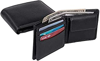 Genuine Leather Mens Bifold Wallet with card flap I Slimfold Full-grain Leather With 10 Credit Card Pockets I Anti-theft S...