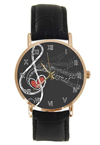 Divertido instrumento de violonchelo con notas musicales coloridas reloj de pulsera de moda clásico unisex analógico de cuarzo caja de acero inoxidable correa de cuero relojes