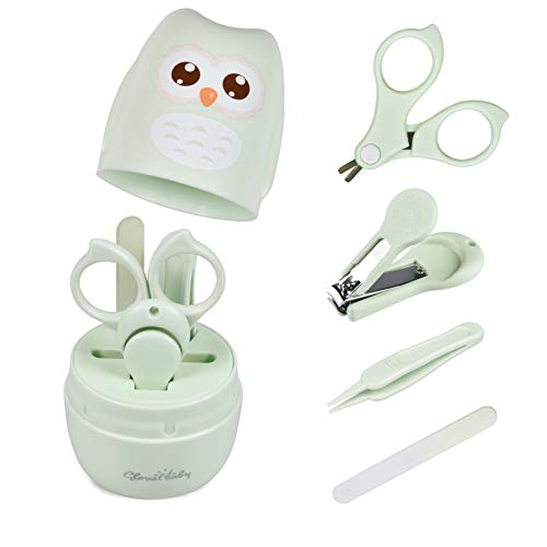 Baby Nail Kit, 4 in 1 Baby Manicure Kit and Pedicure kit with Cute Owl Shape Case. Baby Nail Clipper, Scissor, Baby Nail File & Tweezer for Newborn, Infant & Toddler(Green)