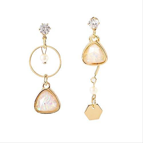 Pendientes Holiday Punk Cristal simple Perla Gema asimétrica Cristal Triángulo geométrico Temperamento redondo Señoras Pendientes largosRosa