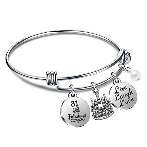 Regali di compleanno per lei Braccialetti con braccialetti per donna Ragazza dal vivo Ridi dal 10 ° al 70 ° (31° Compleanno)