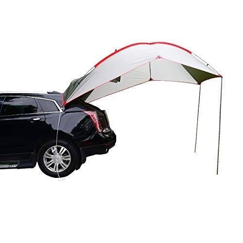 Wind Tour Portable Waterproof Car Rear Tent Outside Camping Shelter Outdoor Car Tent Trailer Tent Roof Top for Beach (Green+White)