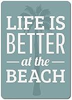 2個 ビーチでの生活はより良いブリキサインメタルプレート装飾サイン家の装飾プラークサイン地下鉄メタルプレート8x12インチ メタルプレートブリキ 看板 2枚セットアンティークレトロ