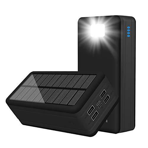 Cargador Solar Alta Capacidad Portátil USB C Banco De Energía Solar con 4 Salidas Y Linterna LED, Rápida Batería Externa para iPhone, Samsung, iPad Y para Acampadas, Senderismo,Negro,50000mAh