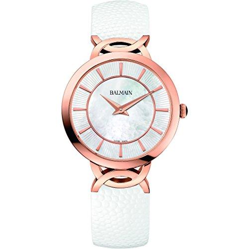 Balmain da donna in taffetà 32mm bianco pelle Band orologio al quarzo...