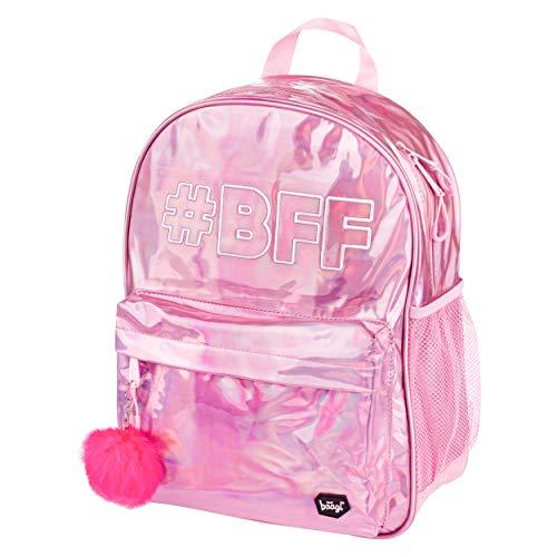 Baagl Glitzer Schulrucksack für Mädchen - Holo Rucksack Mädchen Teenager - Coole Schultasche für Kinder Jugendliche (#BFF)