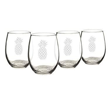 Cathy's Concepts Pineapple Stemless Wine Glasses (Set of 4)