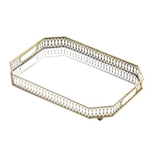 YOYO Bandeja Bandeja Bandeja Espejo de vanidad Bandeja de Joyas de Perfume Bandeja Bandeja Dresser baño Decorativo Plato de Cristal del Metal del Maquillaje (Color : Gold, tamaño : B)