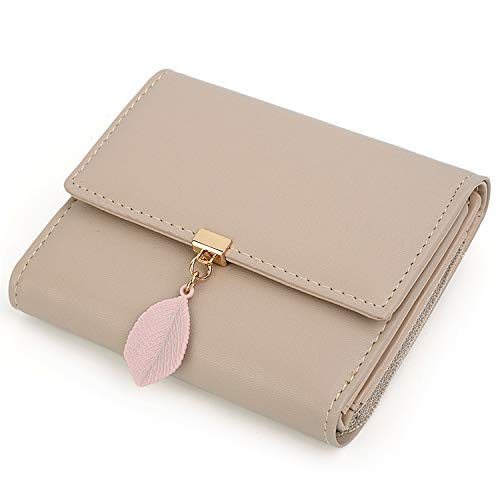 UTO Small Wallet for Women PU Leather Leaf Pendant Card Holder Organizer Zipper Coin Purse Khaki