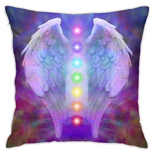 Fundas de Almohada Decorativas Simples, Funda de cojín de 45x45 cm, alas de ángel Invisibles con Cremallera-Reiki y Siete Chakras en la sanación del Alma Colorida Divina