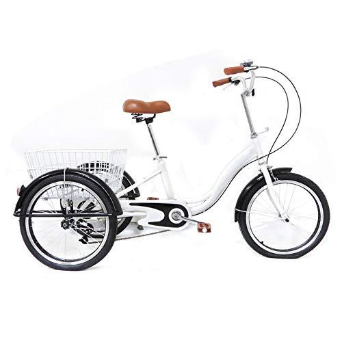 Aohuada Triciclo para adultos de 20 pulgadas, 3 ruedas, con cesta de la compra, para adultos mayores, con cesta de la compra de 3 ruedas