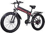 Bicicleta Eléctrica Plegable Bicicleta eléctrica de nieve, 26 en bicicletas eléctricas plegables 1000W 48V / 12.8AH Bicicleta de montaña, faros de moto de nieve LED Pantalla LED Ciclismo al aire libre