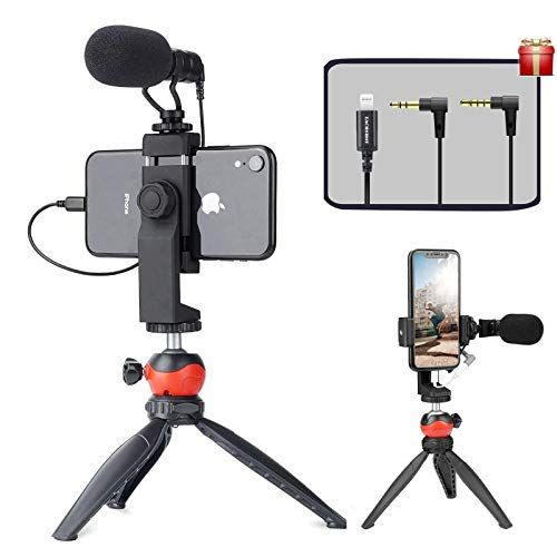 EACHSHOT Smartphone Vlogging Kit with Microphone,Tripod, Dongle Compatible iPhone 12 Mini Pro Max,11 Pro XS XR iOS Devices Android - Microphone for Video Recording Vlog Live Streaming YouTube TikTok