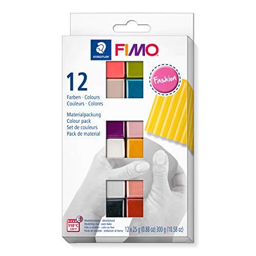 FIMO soft ofenhärtende Modelliermasse. Kartonetui mit 12 sortierten Fashion-Farben.