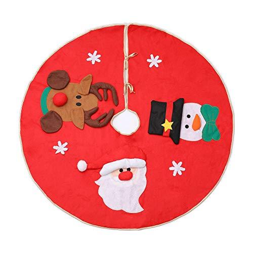 Kentop Jupe de Noël pour sapin de Noël Décoration de Noël Décoration de Noël Décoration de Noël Arbre de Noël Décoration de sapin Rond Ø 100 cm offre beaucoup de place pour les cadeaux de Noël