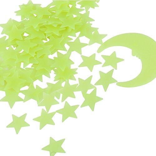 Kesote Leucht Sterne Mond Set, 100 Stück Leuchtsticker Fluoreszierend Wand Aufkleber Plastik mit Selbstklebend Sticker für Schlafzimmer Kinderzimmer Decke