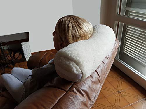 Cuscino Cilindrico in Lana Merinos per il Collo da Viaggio Divano Yoga Meditazione, Poggiatesta a Rotolo, Supporto a Rullo per Nuca, Sostegno Cervicale in Fibra Cava Siliconata