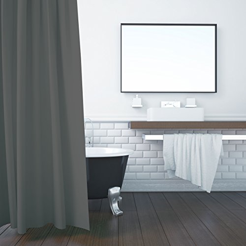 ZOLLNER Duschvorhang 180x200 cm, Anti-Schimmel, grau (weitere verfügbar)