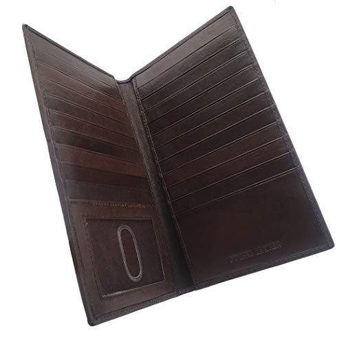 AG Wallets Mens Genuine Leather Long Credit Card Security Wallet Brown RFID