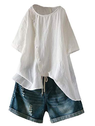 Mallimoda Damen Leinen Bluse Tunika Sommer Kurzarm T-Shirt Elegant Oberteil Weiß XL