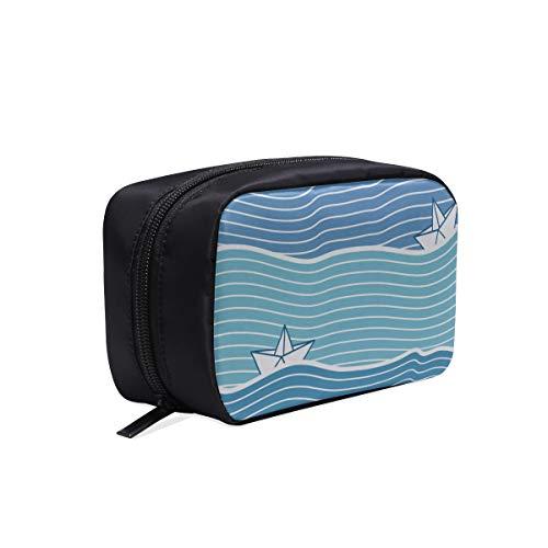 Bolsa de moda colorida Azul de dibujos animados Agua de mar Bote...