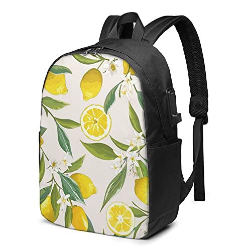 BYTKMFD Mochila de viaje con patrón de limón, mochila para ordenador portátil, para hombre y mujer, extra grande, antirrobo, con puerto de carga USB de 17 pulgadas, Negro, Talla única