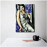 zkpzk Tamara De Lempicka Cuadros Mujer Lienzo Pintura Carteles Impresiones Mármol Arte De La Pared Pintura Cuadros Decorativos Decoración Moderna para El Hogar -50X75Cmx1 Sin Marco