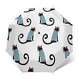 Parapluie Pliant, Parapluie Pliable Automatique Ouverture Et Fermeture Résistant à Tempête Compact Léger Parapluie De Voyage pour Homme Et Femme Dessin animé Mignon Chat français