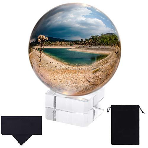 Aneco K9 Kristallkugel mit Ständer Fotografie Kristallglas Kugel Kristallkugel Fotografie Requisite Lensball mit Kristallständer, Tasche und Reinigungstuch, 60 mm