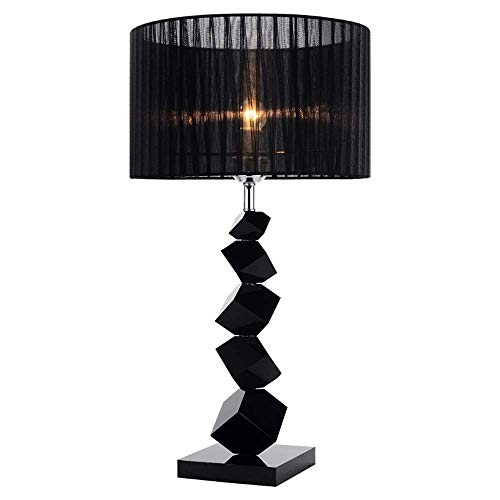 SYLOZ Lámpara de Mesa Dormitorio Negro Personalidad Creativa de Moda de Estilo Americano Moderno Simple Caliente romántico del Estilo Europeo de la lámpara LED Tela Moderno y Minimalista