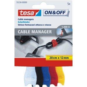 12 x Tesa Kabelbinder Cable Manager Small 12mmx20cm bunt VE=5 Stück