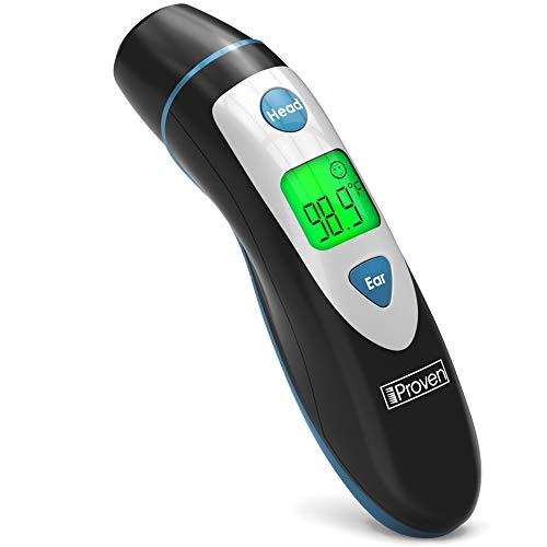 [New 2020 Model] iProven Thermometer for Fever - Forehead and Ear Thermometer - with Fever Alarm - Pouch and Batteries Included - Thermometer DMT-489Black