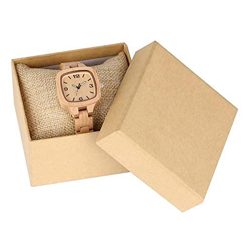 GIPOTIL Minimalista, Simple, Cuadrado, Reloj de Madera, Reloj para Mujer, Delgado, Ultra analógico, Completo, de bambú, Brazalete de Madera, Relojes para Mujer, Reloj para Mujer, bambú con Caja