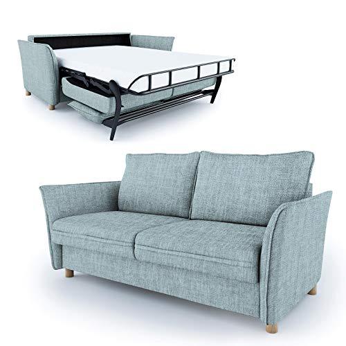 place to be. Schlafsofa 160 cm breit mit Bettkasten 3 Sitzer Sofa mit Schlaffunktion ausklappbar Bettsofa Gästebett hellblau P9908 mit Fleckschutz Eiche massiv