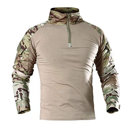 KEFITEVD Hommes Tactique Militaire Chemise Airsoft Combat T-Shirt Printemps Camouflage 1/4 Zip Shirt CP,XXL,Multicolore