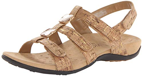 Vionic Women's Women's Rest Amber Backstrap Sandal - Ladies Adjustable Walking Sandals with Concealed Orthotic Arch Support Gold Cork 11 M US