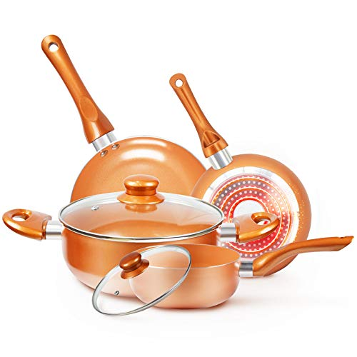 CookwareSet Nonstick Pots and PansSet Copper Pan  KUTIME 6pcs Cookware Set Nonstick Frying Pan Ceramic Coating Stockpot Cooking Pot Copper Aluminum Pan with Lid Gas Induction Compatible