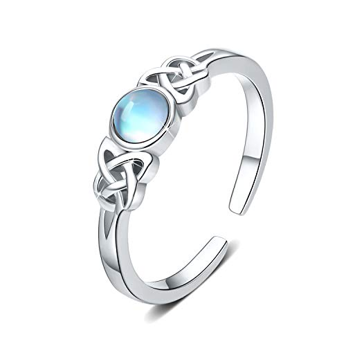 Anillo de piedra lunar 925 Anillo celta de plata esterlina para mujer Nudo celta Joyas de piedra lunar arcoíris para niñas Regalos del día de la madre