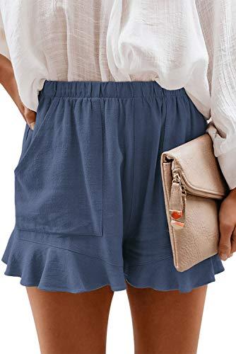 GOLDPKF Womens Running Shorts 5 inch Plus Size Shorts for Women Lounge Shorts for Women Elastic Waste Shorts Women Dusty Blue Medium