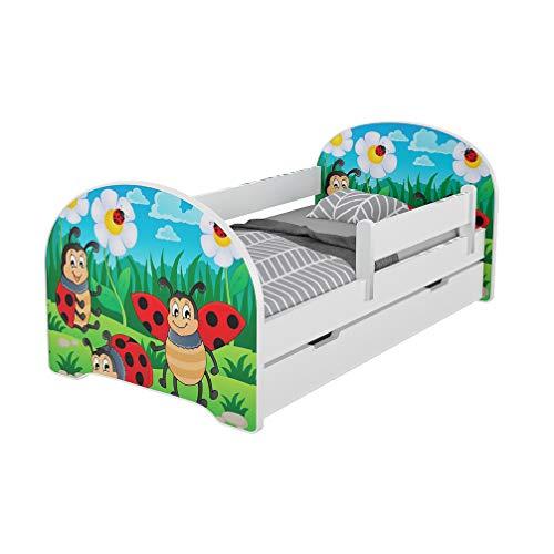Meblex - Letto per bambini con cassetti e materasso in schiuma sicuro, 160 x 80 cm, per camera da...