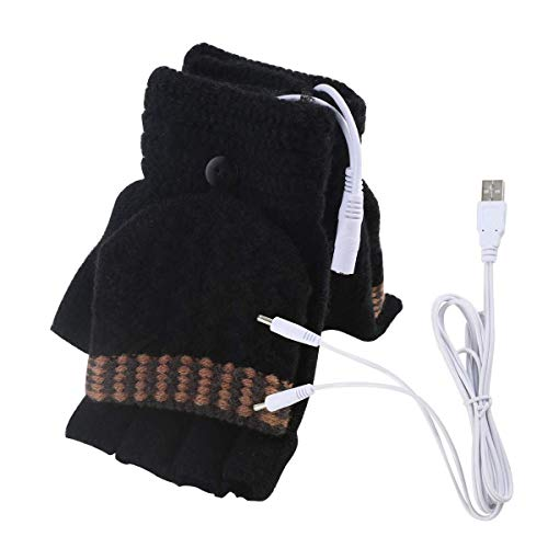 USB Heated Gloves, Mitten Winter Warm Laptop Gloves for Women Men Full & Half Hands Heated Fingerless Heating Knitting Hands Warmer (Men Black)