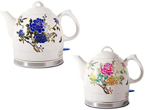 FixtureDisplays Ceramic Electric Kettle Peony Flower Max 47% OFF price with Patter