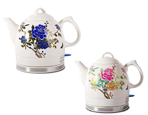 Fixture Displays Ceramic Electric Kettle with Peony Flower Pattern Two-Tone 15000