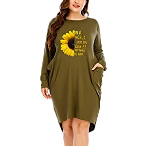 Long Sleeves Oversize Dresses with Pocket for Women Sunflower Print