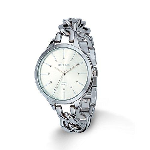 Noelani Damen-Armbanduhr IP Silber Analog Quarz Swarovski Kristalle - 9229444