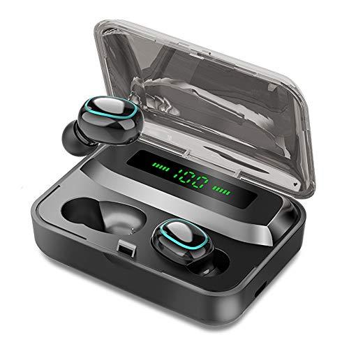 FISEYU Auriculares Bluetooth 5.0, A2 TWS, inalámbricos, resistentes al agua, estéreo, con micrófono, cancelación de ruido, auriculares de alta calidad, bajos profundos para deporte, negro, talla única