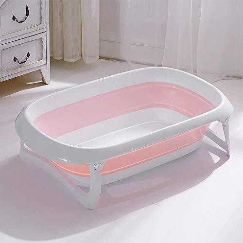 HJJ Baby bath tub/Inflatable Bathtub Household Folding Baby Tub Baby Tub Can Sit Lying Children Bathing Basin a+ /Children's folding bathtub (Color : Pink, Size : 1)